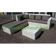Steigerhout loungeset in hoekopstelling, model Danny